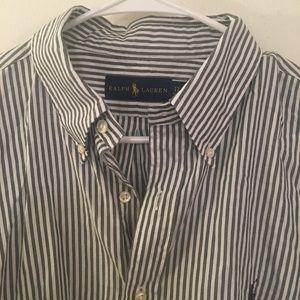 Ralph Lauren Gray Striped Button Down 17/34-35
